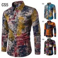 E-Baihui 2020 Autumn New Large Size Shirt Slim Casual Men's Long-sleeved Shirt Large Size National Style Flower Shirt 13C1288