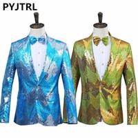 PYJTRL New Men Gradual Blue Green Sequins Shiny Party DJ Singer Stage Show Suit Jacket Wedding Prom Performance Blazer Design