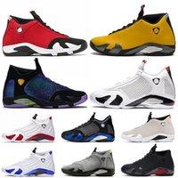 Nike air jordan 14 14s jordan retro 14 zapatos de moda Jumpman Rojo Oro grafito de baloncesto del Mens Doernbecher formadores zapatillas de deporte