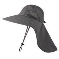 하이킹 메쉬 어부 모자와 목 플랩 와이드 사파리 모자 야외 UV-보호 빠른 건조 버킷 모자를 등반이 넘치