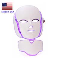 미국 PDT 7 컬러 LED 광선 요법 얼굴 아름다움 기계의 재고 마이크로 현재 피부 미백 장치와 얼굴 목 마스크를 LED
