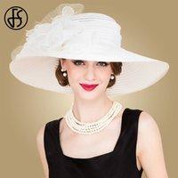 FS Nero Bianco delle donne eleganti della Chiesa cappelli per le signore Summer Flowers grande bordo del Organza il cappello della spiaggia di Sun Kentucky Derby Hat Fedora Y200716