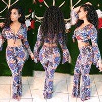 2020 Nova Vestuário feminina barato China Atacado Europeu e Americana Mulheres Duas peças Sets Sexy Imprimir Flare Manga Flare Calças