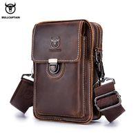 BULLCAPTAIN Crazy horse leather Male Waist Pack Phone Pouch Bags Waist Bag Men's Small chest Shoulder Belt Bag back pack075 MX200717