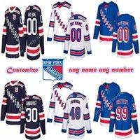 Miúdos feitos sob encomenda dos homens de New York Rangers Jerseys 99 Wayne Gretzky 26 vesey 61 Nash Pavel Personalize todo o nome qualquer nomei jersey de hóquei