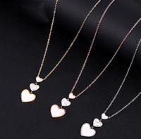 Kadınlar Zarif Kalp Kolye Takı Kolye Elmas Kabuk Üç Aşk Kalp Kolye Altın Gül Altın Klavikula Zincir Takı Hediye
