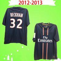 psg paris # 10 Ибрагимович 2012 2013 ретро трикотажные изделия футбола дома синий классический 12 13 Vintage рубашки футбола # 7 Менез # 19 Гамейро # 32 BECKHAM