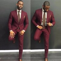 2020 Custom Made Burgundy Wedding Suits For Men Suits Wine R...