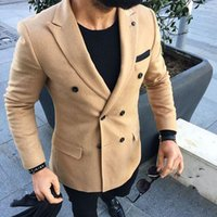 2020 Men Suits Tweed Costume Blazer Khaki Slim Fit Tailored ...