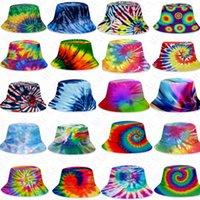 25 styles color tie-dye bucket hat caps unisex gradient sunhat with flat top fashion outdoor hip-hop cap adults kids beach sun hats D71502