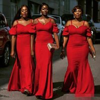 Onur Parti Gowns B149 Of Yeni Afrika Gelinlik Modelleri Mermiad Yeni Spagetti Kapalı Omuz Wedding Guest Elbise Fermuar Geri Hizmetçi