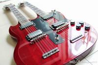 Spedizione gratuita personalizzata Jimmy Page 12/6 Corde 1275 Doppio collo LED Zeppeli Pagina firmata Vino invecchiato Guitar Electric Body Guitar 120830