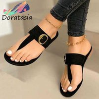 DORATASIA Concise Decorating Shoes Casual Low Heel Summer Slippers Women Classic Hot Summer Rome Flat Slides