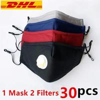 أقنعة DHL الأسهم القطن وجه مع صمام 3 طبقات قابل للغسل قابلة لإعادة الاستخدام القماش مصمم قناع الوجه مع 2 PM2.5 تصفية مكافحة الغبار نسيج