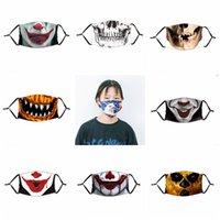 مضحك هالوين قناع الوجه القرع الجمجمة المهرج طباعة أقنعة للأطفال Adutls الوجه الغبار المضادة للضباب قناع الوجه مع PM2.5 تصفية أقنعة قابل للغسل