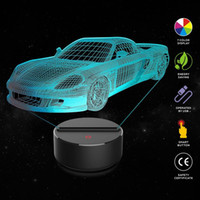 voiture de course 3D Night Light Table Lampe de bureau 7 Couleurs 3D Lumières Illusion d'optique