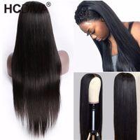 Brasilianische jungfristige menschliche Haare Perücken gerade 13 * 4 Spitzefront vorgeptet mit natürlichem Haaransatz für schwarze Frauen 14-34 Zoll