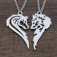 1pcs Two Wolves necklace making a Heart His and Her Wolf Pen...