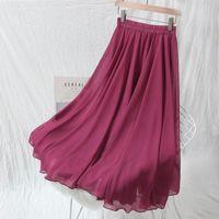 New Arrival Summer Chiffon Skirt Korea Fashion Prairie Chic Women High Waist Swing Skirts Sweet A-line Ankle-length Skirt D184