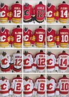 Erkekler 12 Jarome Iginla Jersey Calgary Flames 2 Al Macinnis 9 Lanny McDonald 10 Roberts Vintage CCM Dikişli Hokey Formaları 14 Fleury