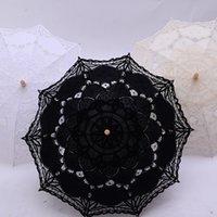 Da sposa in pizzo Umbrella maniglia di legno damigella d'onore da regalo western Vintage Eventi della decorazione del partito parasole ombrellone DDA151