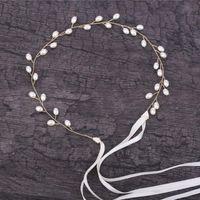 Nupcial alambre Haimeikang mujeres oro blanco perla de la flor de trenzado diadema novia Hairband de punto hecho a mano accesorios para el cabello