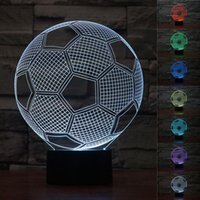 دائرة الرياضة كرة القدم كرة القدم 3D البصرية الوهم مصباح 7 ألوان تغيير زر اللمس و 15 مفاتيح البعيد مكتب LED تحكم الجدول ليلة ل