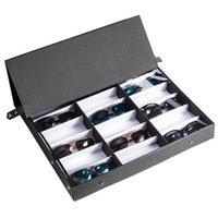 レザージュエリー仕上げボックスポータブルコレクションメガネケースサングラスディスプレイスタンドホームストレージ