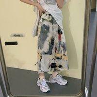 Rokken gepint zomer rok vrouwen hoge elastische taille lange rechte vintage designer splitsen los met voering harajuku x240