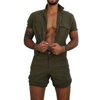 2020 Хлопок Комбинезон мужские Комбинезоны Повседневная отворотом с коротким рукавом Rompers Solid Color Общий однобортный Ползунки короткие штаны