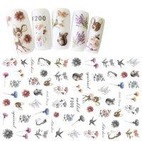 manicura personalizada 20styles de uñas salón de autocontrol Pegar tipo impermeable, palo de clavo de la flor etiquetas engomadas del clavo 3D de tinta venta al por mayor caliente