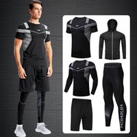2020 Quick Dry Hommes Courir Ensemble Costume Sport Compression Basketball Jogging Collants Vêtements Courir Gym Fitness Training sport