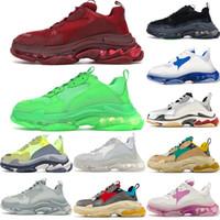 Top qualidade Triple S calçados casuais de cristal inferior Combinação Paris 17FW Baixa Old Dad Sneaker Shoes Soles Womens Moda Botas Mens Com Box