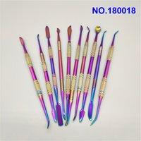 herramienta de DAB DAB titanio uñas de 10 piezas Tubos de 7 pulgadas de titanio plateado 10 Estilo Color Púrpura Para Bongs de cristal de cuarzo de agua Banger Nails rr