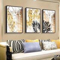 3 Panels Nordic Plant Golden Leaves Canvas Painting Modern A...