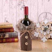 عيد الميلاد النبيذ مجموعة أزياء منقوشة القوس عقدة زجاجة حقيبة زجاجة النبيذ الغلاف حزب الاحتفالية زينة عيد الميلاد ZZA2463 الشحن البحري