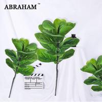 70cm 큰 가짜 홈 장식을위한 반얀 트리 분기 인공 상록 식물 잎 장식 리얼 터치 열대 팜 리프 계산