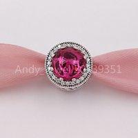 Autentiche 925 perline in argento sterling DSN, Rosa radiante della campana, cristalli di cerise cristalli cubici charms si adatta gioielli in stile Pandora europeo
