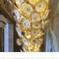 Koridor Golden Flower Avize Işık LED Tasarruf Işık Kaynağı Murano Cam Tabaklar Sanat Avize Lambalar Arap Kristal Avize