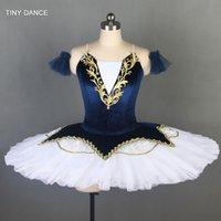 Стадия носят темно-синий бархатный лиф с 7 слоем плиссированного тюль блинчик TUTU профессиональный балет танец костюм для взрослых девушек BLL079