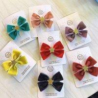 Accesorios para el cabello Boutique 30 unids Moda Lindo brillo estrella arco Horquillas Sólido Bowknot Clips Princess Party Headwear Girls