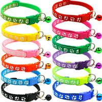 Pet Cat Collar Cute Paw Print Cat Bell Collar Adjustable Nylon Ribbon Collar for Cats Small Dogs Puppy Neck Strap 1.0cm 19-32cm