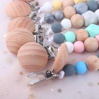 Mode Silikon Baby Schnuller Clip Holz Perlen Halter Clips Anti Tropfen Kette Besiedeln Mütterliche und Säuglingsprodukte 5BQ d2