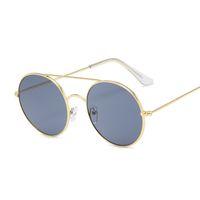 Óculos de sol redondo vintage Mulheres Double Bridge Design Feminino Candy Cor Espelho Espelho Rua Batida Compra Oculos