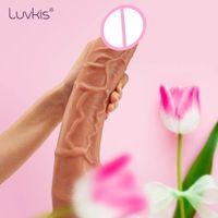 Luvkis 12 pollici dildo grande pene Con Le Sfere 3D realistica Phalos per le donne a doppio strato di silicone ventosa 230 centimetri CX200708 inseribile