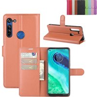 Dla Moto E6 G8 Power Lite PU Wallet Stojak Skórzany Flip Cover Case do Motorola G8 Plus G5
