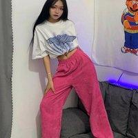 Houzhou Style Coréen Corduroy Pants Les femmes d'été droites Pantalon taille haute Femmes Mode Streetwear Pantalon large jambe rose