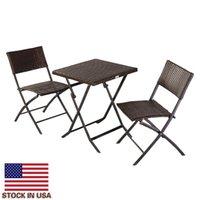 EUA estoque artesanalmente jardim assento de alta qualidade conjuntos dobrável cadeira de rattan três peça mesa quadrada marrom pátio sofá móveis
