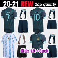 2020 2021 Homens Crianças Argentina Soccer Sports Jersey 2019 Home Away Maria Aguero Higuain 19 20 Messi Dybala Meninos Kit Camisa de Futebol