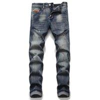 2020 Desail Yeni Streetwear Hip Hop Streç Delik Düz Rozeti Pantolon Patlayıcı Metal Işlemeli Yıkanmış Eski Vintage Kot Uzun Pantolon